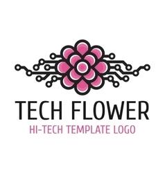 Tech flower template logo vector