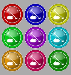 The stone for curling icon sign symbol on nine vector image