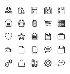 Web and mobile ui line icons 19 vector