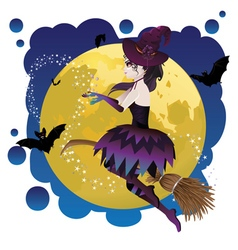 Witch and Full Moon4 vector image vector image