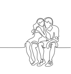 Young couple in love sitting vector