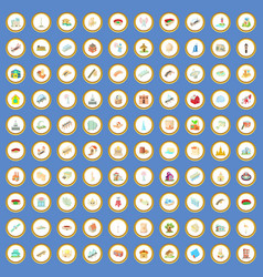 100 building icons set cartoon vector image
