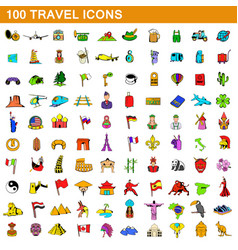 100 travel icons set cartoon style vector