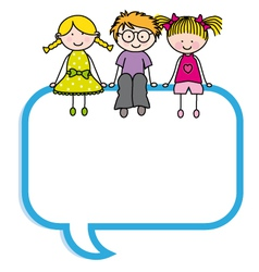 Children sitting in a speech bubble vector
