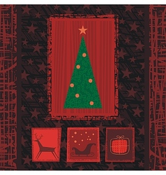 Christmas Tree Greeting Card Background vector image