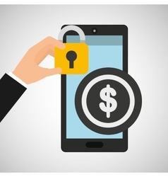 Smartphone dollar money security vector