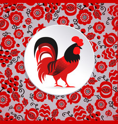 red cock ornamented vector image