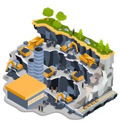 Isometric coal mining quarry vector