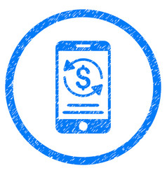 Mobile payment rounded grainy icon vector