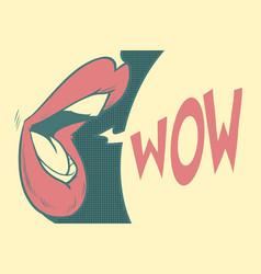 Pop art mouth wow vector