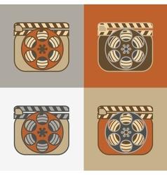 Grunge retro cinema icons vector image