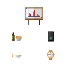 Flat icon lifestyle set of lunch timer vector