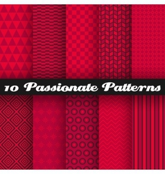 10 passionate seamless patterns tiling hot red vector