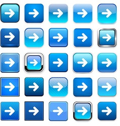 Square blue arrow icons vector