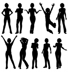 Silhouettes girl vector