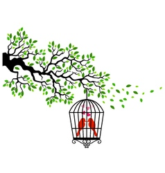 Tree silhouette with bird in a cagecage tree bir vector