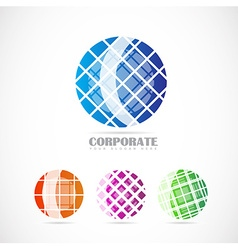 Corporate globe logo set vector