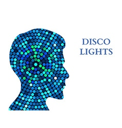 Double exposure man silhouette and disco lights vector