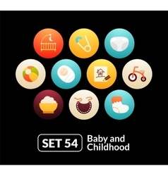 Flat icons set 54 - baby and childhood vector