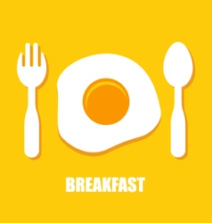 Fried eggs spoon and fork - breakfast vector