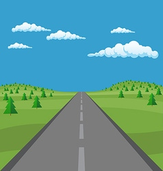 Landscape background road in green fir tree valley vector
