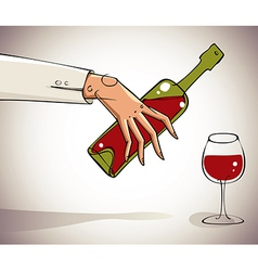 Hand pouring wine into glass vector