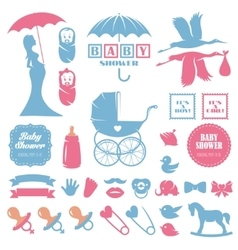 Baby shower design elements set pregnancy vector