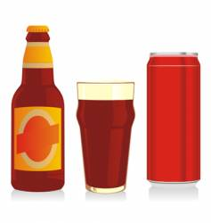 beer bottle glass and can vector image vector image