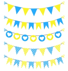 Bunting set yellow and blue for scrapbook vector