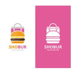 burger and shop logo combination hamburger vector image vector image