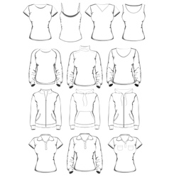Collection of women clothes outline templates vector image vector image