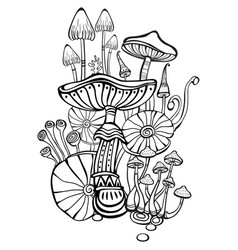 coloring book page for adult with mushrooms vector image vector image