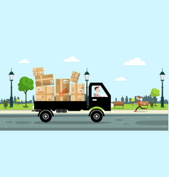 Delivery service car with paper boxes and driver vector