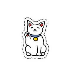 Doodle icon sticker maneki neko isolated on vector