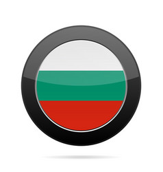 Flag of bulgaria shiny black round button vector
