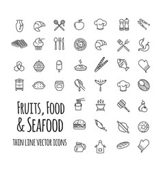 fruits food and seafood outline set of vector image