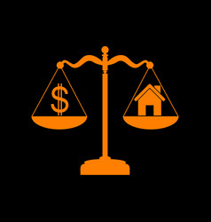 House and dollar symbol on scales orange icon on vector