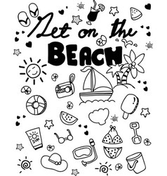 icon set summer beach holidays travel vacation vector image