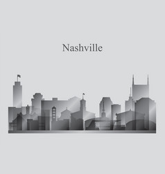 Nashville city skyline silhouette in grayscale vector