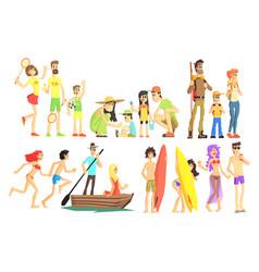 People in summer set vector