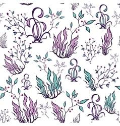 Purple green seaweed seamless pattern vector