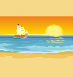 sailboat floating on the sea flat vector image