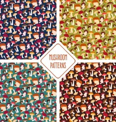 Seamless mushroom patterns set vector