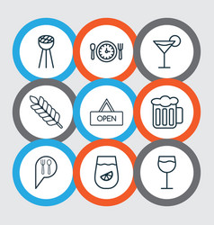 Set of 9 meal icons includes wheat cocktail vector
