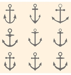 Set of anchors Anchor symbols or logo template vector image