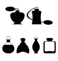 Set of flat woman perfume isolated on white vector