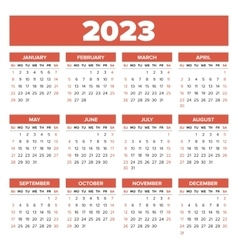 Simple 2023 year calendar vector