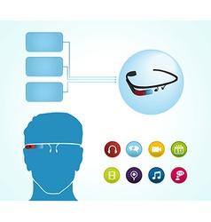 Smart glasses apps vector image