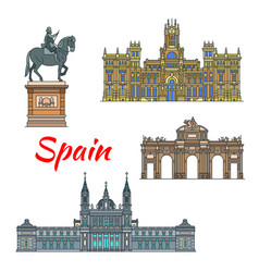 Spanish travel landmark of madrid linear icon set vector