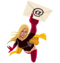 superheroine flying e-mail vector image vector image